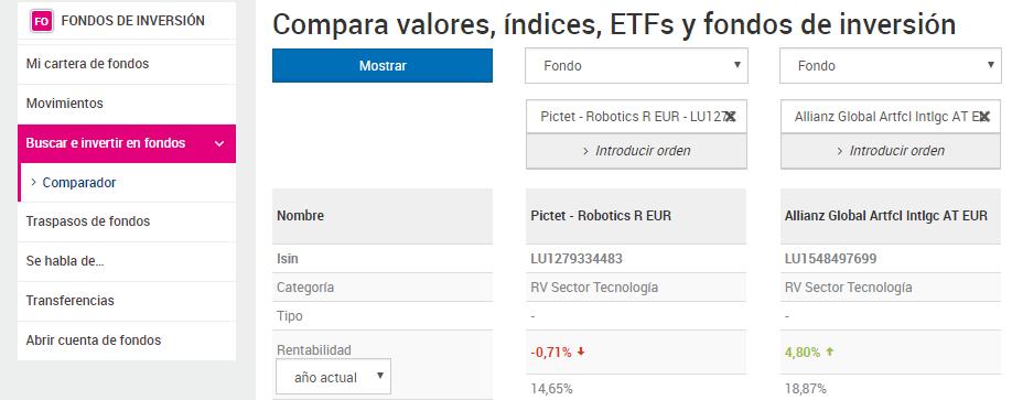 Comparador de fondos: introducir fondos